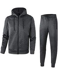 32ab59909b Men s Athletic Casual Tracksuit Pants Full Zip Hooded Jacket Sweatsuit Set  for Men