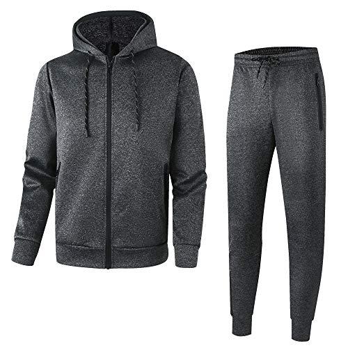 Men's Athletic Casual Tracksuit Pants Full Zip Hooded Jacket Sweatsuit Set for Men(M,D-Grey)