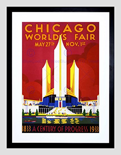 CULTURAL WORLD FAIR CHICAGO 1933 CENTENNIAL VINTAGE BLACK FRAME FRAMED ART PRINT PICTURE + MOUNT B12X865