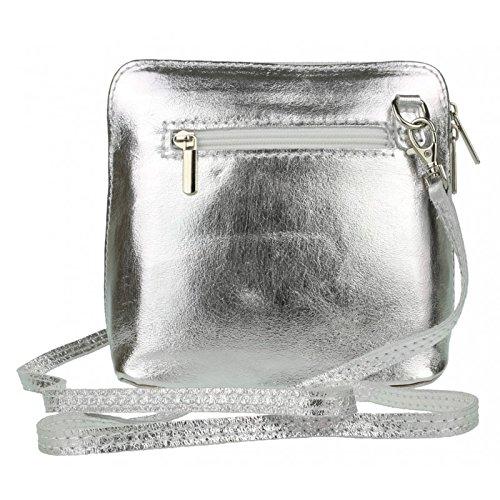 Vera Body or Bag Pelle Italian Leather Genuine Bag Shoulder Silver Cross Mini q8B1ExWn