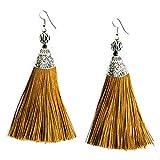 Ginger Fan Tassel Earrings Pom Tassel Earrings Handmade Fringe Dangle Earrings for Women's Statement Jewelry