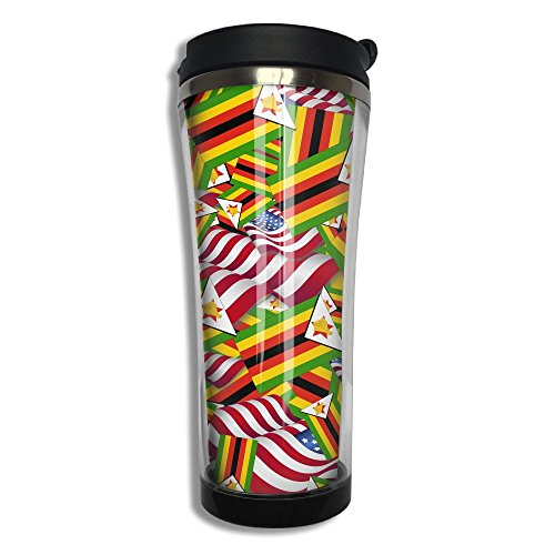 Zimbabwe Flag With America Flag 10.6 Oz Stainless Steel Vacuum Cup Leak Proof Sport Cup Travel Coffee Mug Thermos Cup