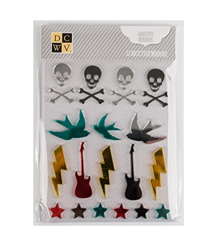 American Crafts DCWV Rock Star Icons Adhesive Mirrors - Clear Gem Stickers, Paper Craft Embellishment - 22 Pieces