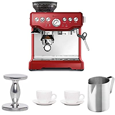 Breville BES870CBXL The Barista Express Coffee Machine (Cranberry Red) + Free Frothing PItcher, Handhelp Tampe