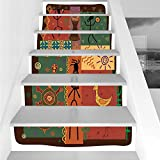 Stair Stickers Wall Stickers,6 PCS Self-Adhesive,Primitive,Funky Tribal Pattern Depicting African Style Dance Moves Instruments Spiritual,Multicolor,Stair Riser Decal for Living Room, Hall, Kids Room