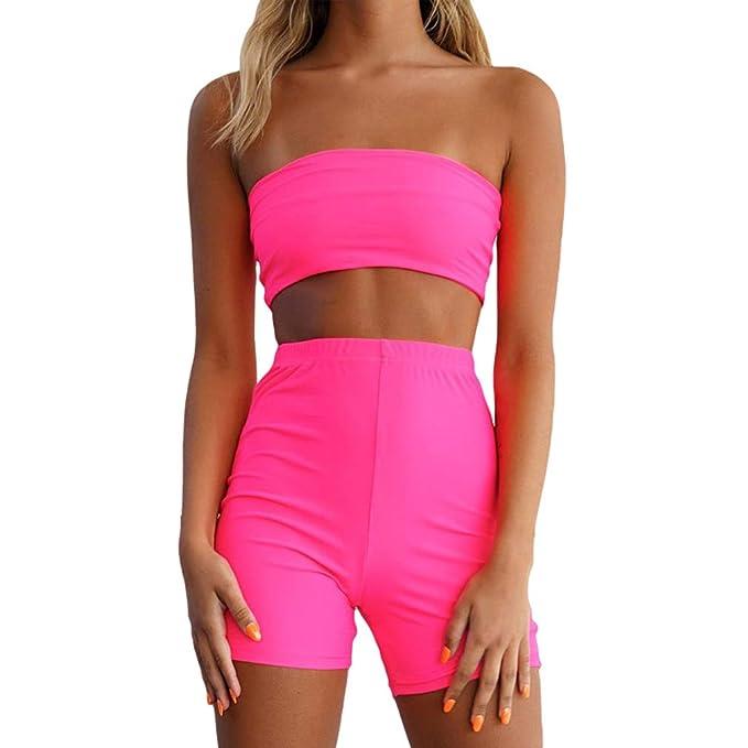 Conjunto barato de top y pantalón corto de color rosa flúor