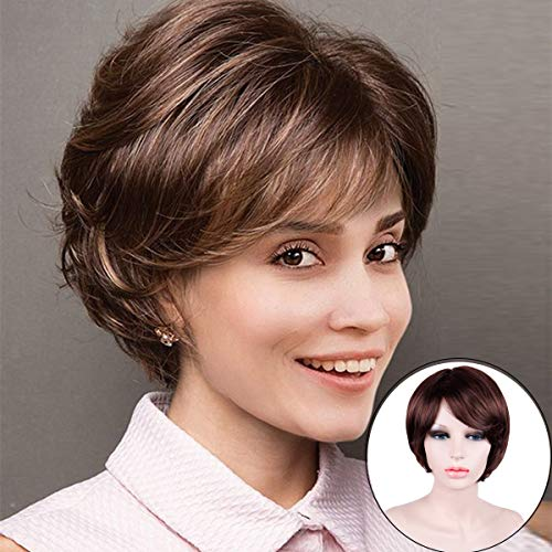 (Hairphocas Pixie Cut Curly Short Brown Wig Synthetic Short Layer Wig Cosplay None Lace Replacement Wig with)