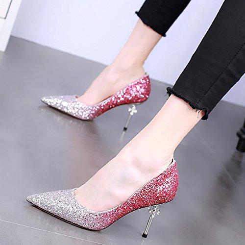 SSBY Ein 8.5Cm High Heels Mit Einem Schönen Neuen Strass Hochzeit Schuhe Sexy Schuhe Stimmen Überein. Pink
