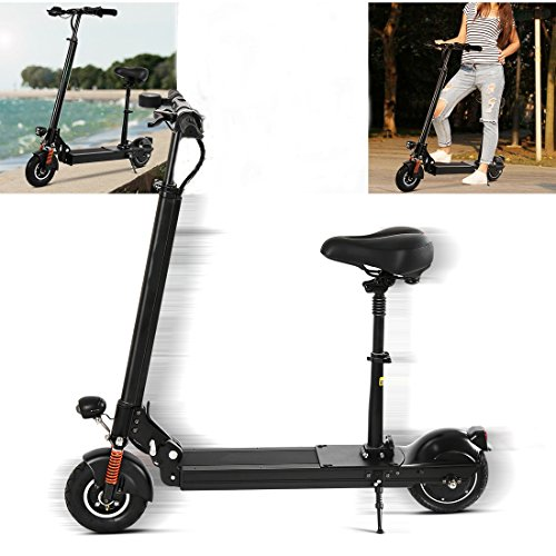 Corgy Foldable Black Alloy Electric Scooter, with Lion Battery, Led Headlight Taillight and Inflator, Changeable Speed (balck)