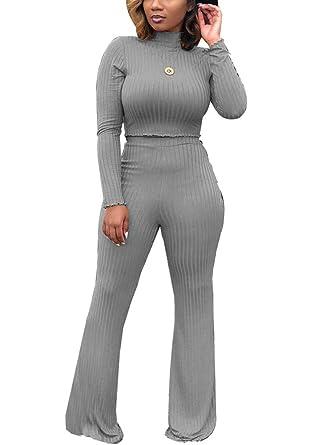 1db24fb0694d Women Two Piece Outfits - Long Sleeve High Neck Crop Top Bell Bottom Pants  Matching Set