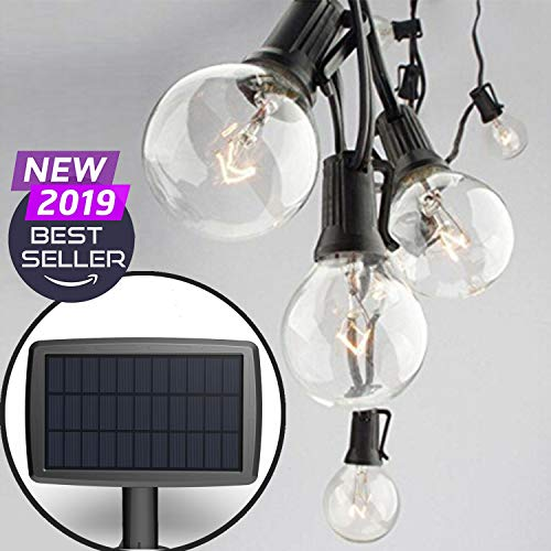 Sunlitec Solar String Lights Waterproof LED Indoor/Outdoor Hanging Lights with Bulbs - 27 Ft Patio Lights for Deckyard Tents Market Cafe Gazebo Porch Party Decor
