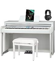 Classic Cantabile DP-A 610 E-Piano Set (88 Tasten Hammer-Mechanik, 1200 Voices und 38 DSP Effekte, Bluetooth-Streaming, Begleitfunktionen, 270 Styles, inkl. Bank, Kopfhörer und Schule) Weiß matt