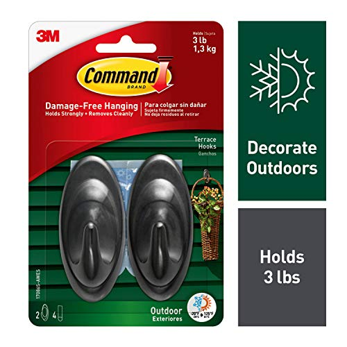 Command Outdoor Terrace Hook, Medium, Slate, 2-Hooks (17086S-AWES) - 17086S-AW-E from Command
