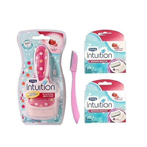 Schick Intuition Renewing Moisture Womens Refill Cartridges and Handle,  Pack of 6 Cartridges plus 1 Handle with Eyebrow Razor 1count