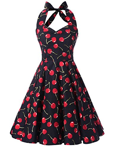 Ensnovo Womens Vintage 1950s Halter Floral Spring Garden Party Picnic Dress Cherry L