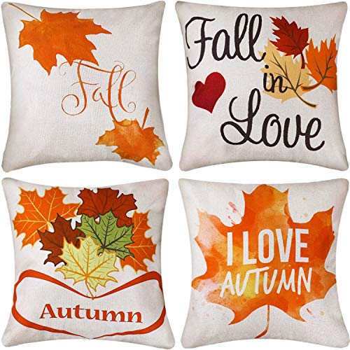 Jetec 4 Pieces Fall Maple Leaf Throw Cushion Covers Thanksgiving Cotton Linen Pillow Cover Case for Autumn Thanksgiving Day Carnival Decor, 18 by 18 inch