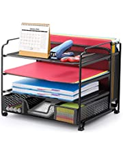 $25 » Simple Trending 4-Trays Mesh Office Supplies Desk Organizer, Desktop File Holder with Drawer Organizer and Vertical Upright Section for Office Home, Black