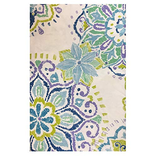 Paradise Medallion - Paradise Island Vinyl Flannel Back Tablecloth - Blue Butterfly Medallion 52 inches x 52 inches