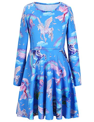 Jxstar Girls Dress Sky Unicorn Print Dress Long Sleeve Tshirt Dress Sky Unicorn 120 -