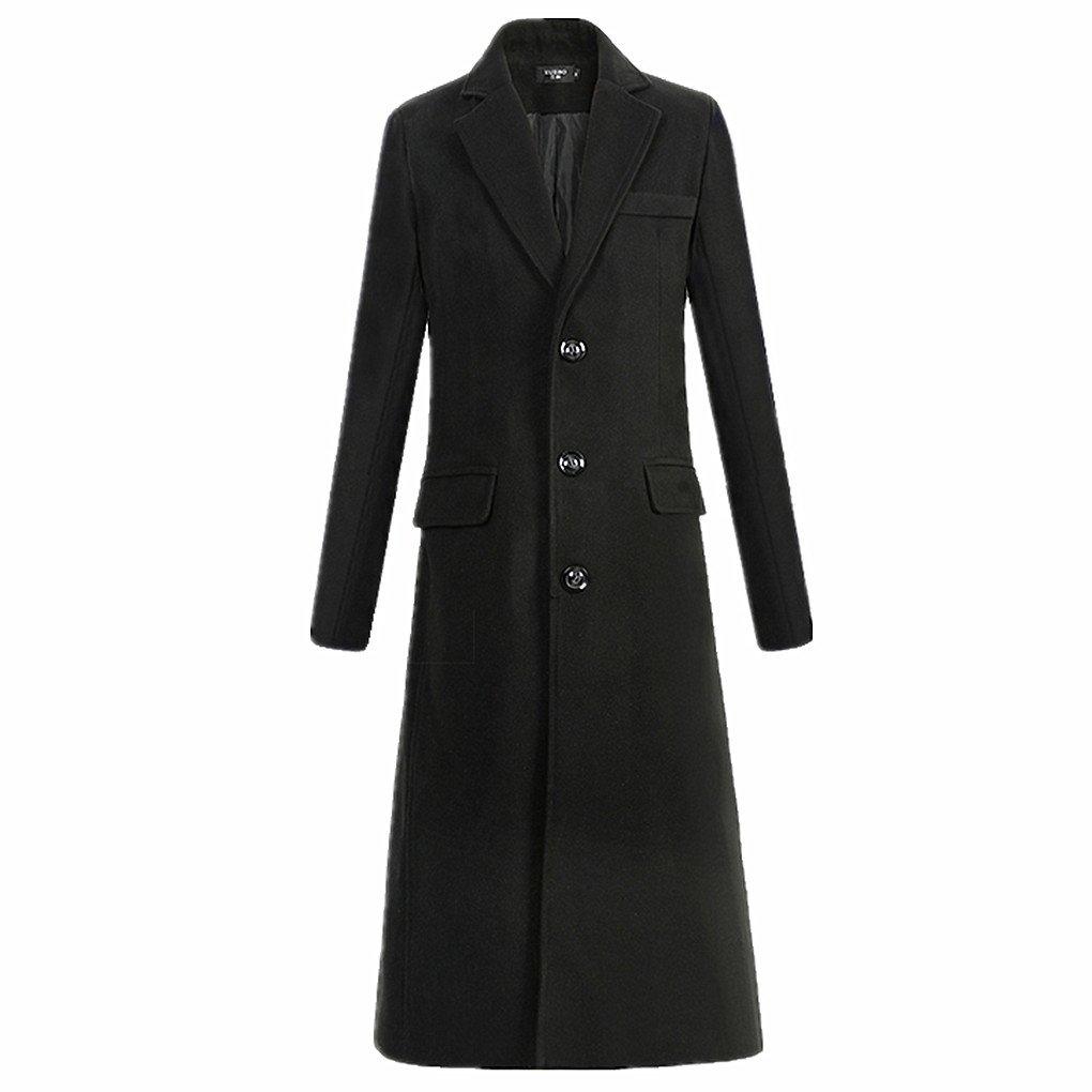 Men Longer Trench Coat Male Fine Woolen Cloth Wool Blends Coat Jackets