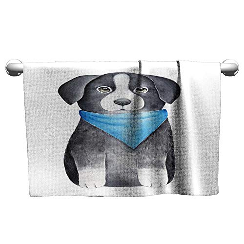Baby Towels Border Collie Puppy Character Sketchy Drawing One of Most Intelligent Domestic Dog Breeds Quick-Dry Towels 10 x 10 Inch ()