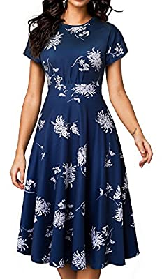 HOMEYEE Women's Short Sleeve Floral Casual Aline Midi Dress A102