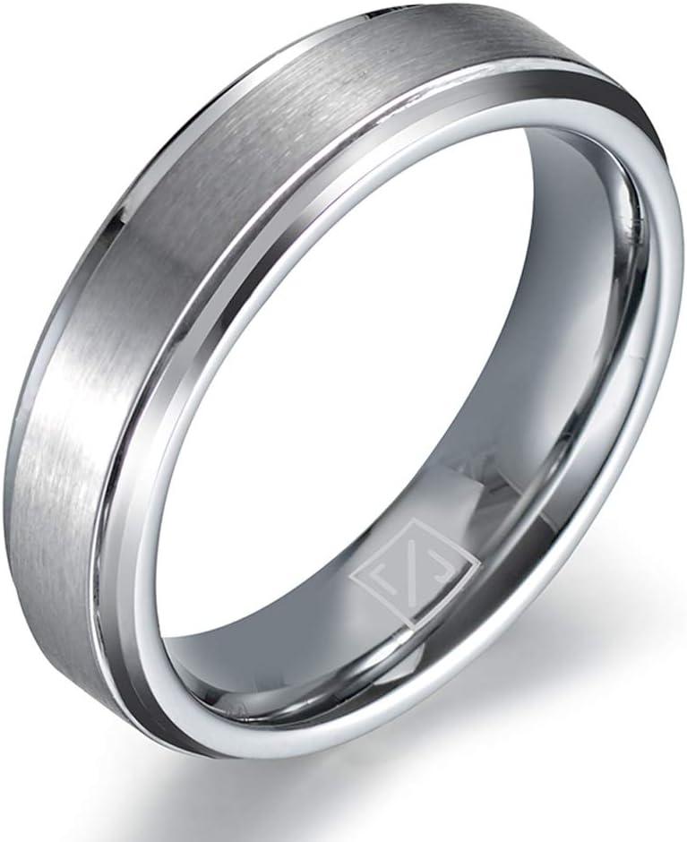 Luxffield Basic Mens Tungsten Carbide Ring 6mm Polished Beveled Edge Matte Brushed Finish Center Wedding Band 7.5-13