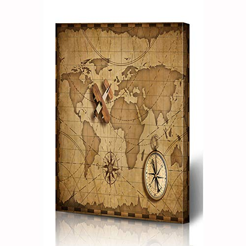 (Ahawoso Canvas Prints Wall Art 12x16 Inches Nautical Brown Compass Wood Airplane Over World Parchment Map Adventure Aged Air Ancient Antique Wooden Frame Printing Home Living Room Office Bedroom)