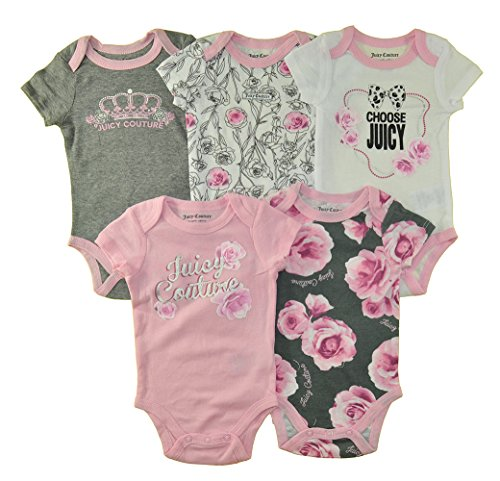 (Juicy Couture Girls' 5 Pack Bodysuits, Pink/Gray/Floral, 0-3 Months)