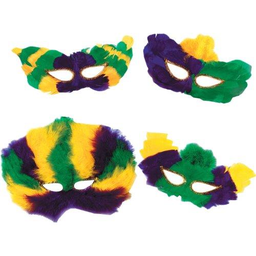 Mardi Gras Fanci-Feather Masks (golden-yellow, green, purple; asstd designs) Party Accessory  (1 count) (1/Pkg)