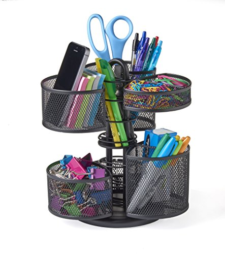 NIFTY Office and Desk Organizing Carousel with Removable Top Baskets, Black (7220) ()