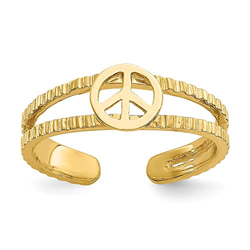 14k Yellow Gold Polished Sparkle-Cut Peace Sign Toe Ring by JewelryWeb (Image #4)
