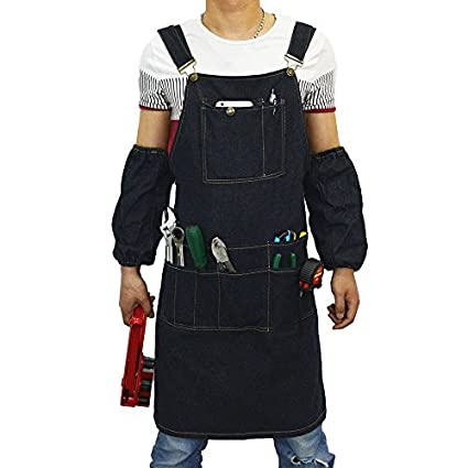 Workshop Garden Waterproof Workshop Apron with Top Grade Quality Fit Kitchen Pottery QEES Mens Tool Apron Craft Heaavy Duty Oxford Carpenters Apron