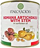 Italian Artichoke Hearts, 5.5 Pound Bulk Roman Style Artichokes with Stems in Sunflower Oil