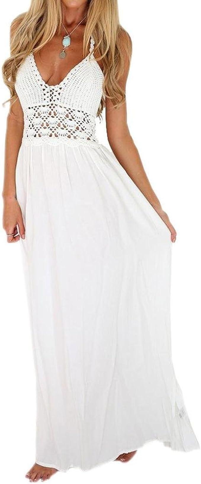 Weiß//Schwarz Damen Kleid Sommer Damen Häkel Freizeit Ärmellos Abend Mode