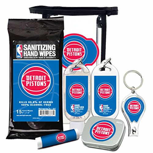 (Detroit Pistons 6-Piece Fan Kit with Decorative Mint Tin, Nail Clippers, Hand Sanitizer, SPF 15 Lip Balm, Hand Lotion, Sanitizer Wipes. NBA Gifts for Men and Women By Worthy)
