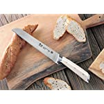 Cangshan S1 Series 59700 German Steel Forged Bread Knife, 8-Inch 16 Patent Pending Design knives that focuses on ergonomics handle with unique creme color Well balanced 5.5-inch handle and 8 blade X50Cr15MoV German Steel with HRC 58 +/- 2 on the Rockwell Hardness Scale