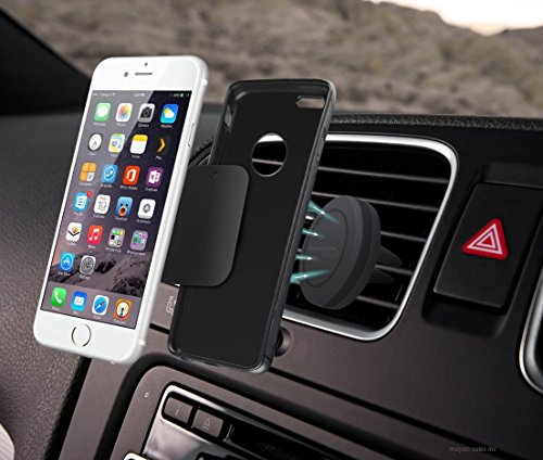 Air Vent Smartphone Car Mount W  Magnetic 1 Step Mounting Technology   Best Cell Phone Holder For Your Car   Compatible With All Phones Black  Compatible With Most Case