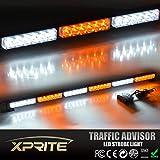 Xprite 38-inch 36 LED High Intensity 16 Pattern Modes Traffic Advisor Vehicle Strobe Light Bar (White and Amber)