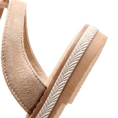 de y Abierta Gran Sandalias Mujer Verano Correas Zapatos Planas Primavera Tamaño Estudiante AIKAKA Apricot Gamuza de de POIxw7