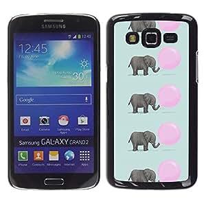 FlareStar Colour Printing Elephant Cute Pink Balloon Pattern cáscara Funda Case Caso de plástico para Samsung Galaxy Grand 2 II / SM-G7102 / SM-G7105