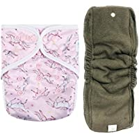 """HappyEndings AI2 All-in-Two Cloth Diaper Cover/Snap-in Charcoal Bamboo Insert""""Unicorns"""""""