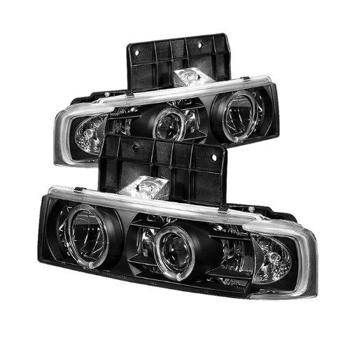 Chevy Astro Halo Headlights - Spyder Auto Chevy Astro/GMC Safari Black Halogen Projector Headlight