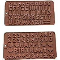 Jasinber Set de 2 Moldes de silicona para chocolate con letras y números, con símbolos de feliz cumpleaños (2 Pack)