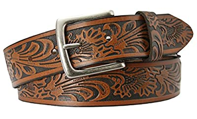 "Tooled Embossed Brown Leather Western Belt 1 1/2"" Wide"