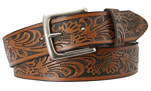 (Tooled Embossed Brown Leather Western Belt 1 1/2