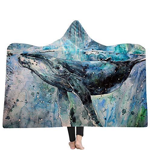 YGUII Whale Shark Hooded Blanket Shiny Gold Throw Blanket Sherpa Flannel Fleece Reversible Wrap Blankets150200cm(59