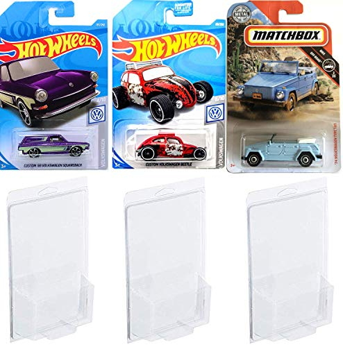 2019 Thing VW Matchbox '74 Type 181 Bundled with Hot Wheels Volkswagen Custom Red Beetle & Custom '96 Squareback Purple Wagon 3 Bundle in Protective Cases