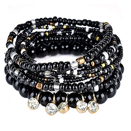 DINGFASHION Bohemian Stretch Multilayer Stackable Bracelets,Colorful Bead Crystal Beach Bangle for Womens