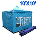 New MTN Gearsmith Heavy Duty Ez Canopy Pop up Tent Canopy Shade 10 X 10′ Gazebo with 4 Walls Skyblue, Outdoor Stuffs